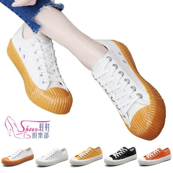餅乾鞋.韓系餅乾鞋工業風輪胎紋厚底帆布鞋.黑/黃/全白/橘/紅/焦糖【鞋鞋俱樂部】【023-LHG8655】