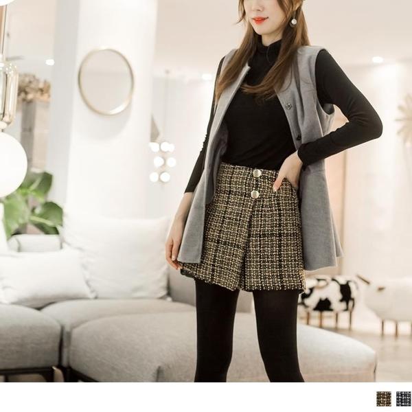 《BA3818-》粗花呢格紋造型釦褲裙 OB嚴選