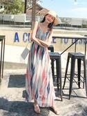 2020新款夏季長裙女泰國三亞巴厘島旅游海邊度假沙灘裙吊帶連身裙