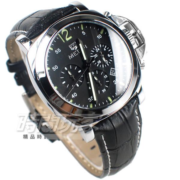MEGIR 不對稱 大錶徑真三眼時尚男錶 防水手錶 日期顯示 皮革錶帶 銀x黑 ME3006銀黑