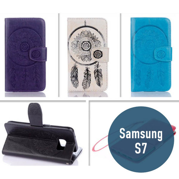 SAMSUNG 三星 S7 風鈴皮套 插卡 支架 錢包 側翻皮套 手機套 手機殼 保護殼 捕夢網