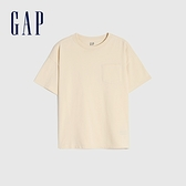 Gap男童 純棉基本款圓領短袖T恤 785201-米黃色