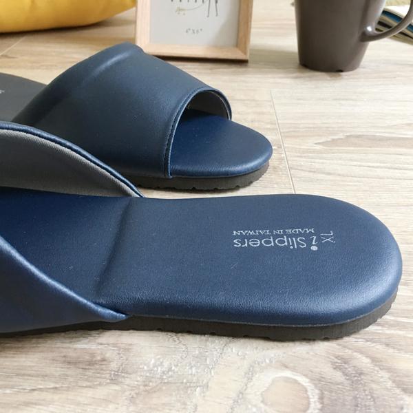 台灣製造-經典系列-皮質室內拖鞋-舒柔純色-藍