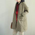 大衣外套  中長款 夾棉 保暖 加厚 格子 棉服外套/2色-夢想家-1207