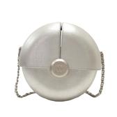 CHANEL 香奈兒 銀色小牛皮圓形造型肩背包 Capsules Circle Evening Bag 【BRAND OFF】