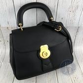 BRAND楓月 BURBERRY 博柏利 4054220 黑大提包 皮質 翻蓋 兩用包 手提包 肩背包 側背包 斜背包
