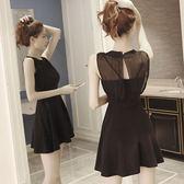 推薦黑色網紗ins超火的連衣裙子春新款女小心機蕾絲赫本小黑裙夏(滿1000元折150元)