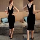 莫代爾背心女修身包臀中長款百搭黑色打底裙性感背心內搭打底襯裙 格蘭小舖