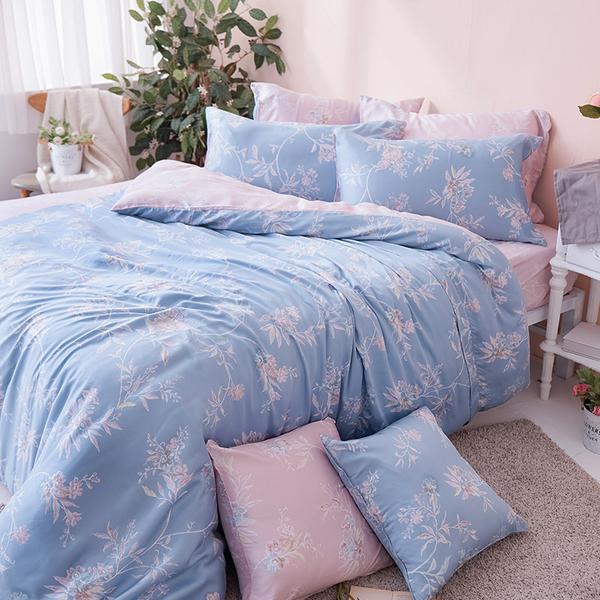 兩用被 / 雙人【綠葉扶花】鋪棉兩用被套  60支天絲  戀家小舖台灣製AAU205