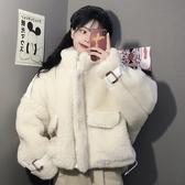 仿皮草外套 仿羊羔毛加絨外套女秋冬2019新款韓版寬鬆百搭立領夾克上衣ins潮 玫瑰