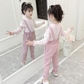 女童吊帶褲 女童秋裝套裝2019新款韓版兒童洋氣童裝春秋時髦背帶褲兩件套 小天後