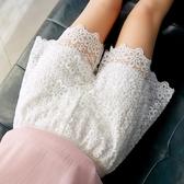 蕾絲安全褲可外穿短褲女夏防走光打底褲白色寬鬆大碼保險褲薄三分