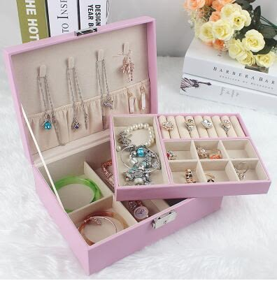 首飾盒木質公主歐式韓國雙層帶鎖飾品盒首飾盒【17*23*8.5cm、粉色】