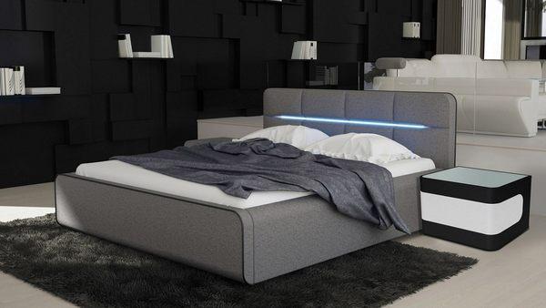 【森可家居】布蘭妮6尺深灰皮雙人床加大 7JF077-2 LED氣氛燈 時尚簡約