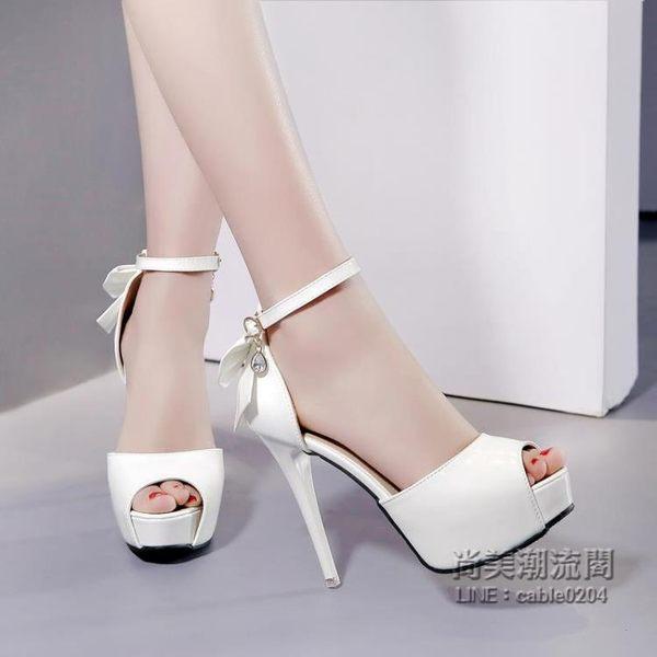 超高跟鞋12cm夜店防水台細跟蝴蝶結漆皮魚嘴一字扣百搭涼鞋女
