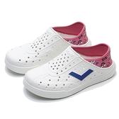 PONY 水鞋 ENJOY 白 粉紅數位 藍LOGO 後跟可踩 洞洞鞋 情侶 兩色 女 (布魯克林) 03U1SA02CR