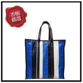 巴黎世家BAZARSHOPPER藍白黑直式購物包480792全新商品