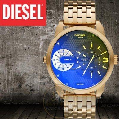 Diesel國際品牌Mini Daddy雙時區航行者腕錶-金/炫彩/46mm DZ7341公司貨/禮物/另類設計