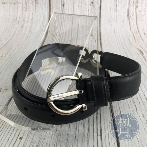 BRAND楓月 SALVATORE FERRAGAMO 黑色 LOGO 皮革 皮帶 腰帶 配件