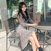 工廠直銷不退換~1312韓版女裝氣質圓領豹紋高腰不規則長袖印花連身裙ZL2FA71-A紅粉佳人
