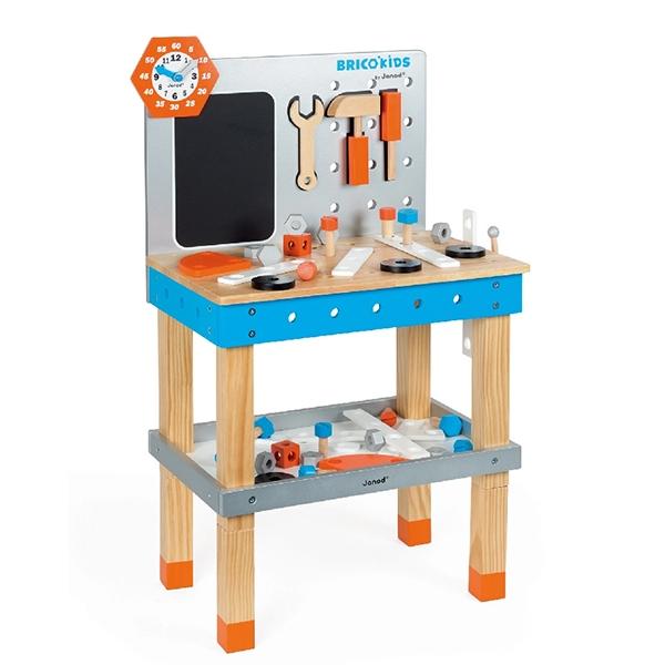 【法國Janod】小木匠創意玩-站式工作台(藍橘款)