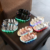 男童涼鞋2020夏季新款時尚兒童亮燈鞋女童發光鞋寶寶露趾沙灘鞋潮 滿天星