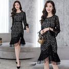 VK精品服飾 韓系時尚包臀魚尾裙名媛修身顯瘦長袖洋裝