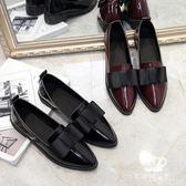 小皮鞋 韓版百搭一腳蹬尖頭單鞋女學生蝴蝶結軟妹 艾米潮品館