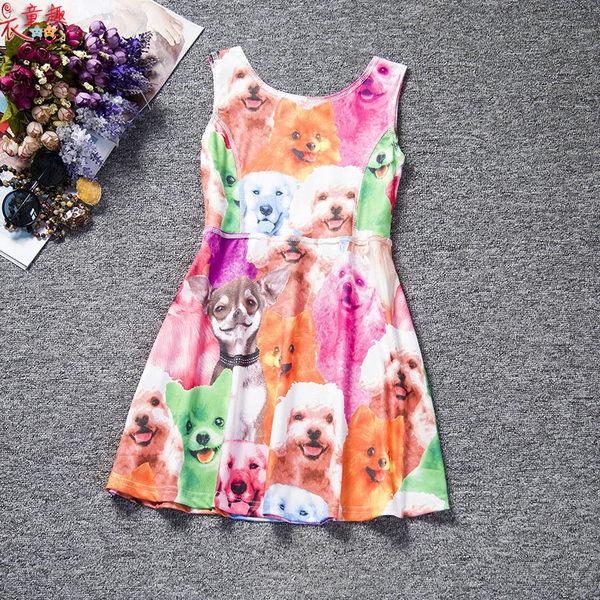 衣童趣♥中大女童 連身洋裝 可愛印花 動物 多款可選 無袖夏季 背心裙