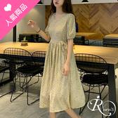 韓系復古時尚碎花短袖圓領連身裙洋裝/單一色 (RL0088-6620) iRurus 路絲時尚