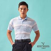 【Emilio Valentino】都會悠活層次橫條POLO衫-水藍/白