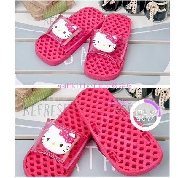 asdfkitty可愛家☆KITTY桃色兒童用浴室拖鞋/室內拖鞋-鞋底有濾水孔洞-20公分-韓國製