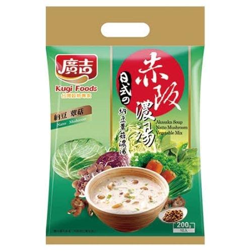 廣吉赤阪濃湯-納豆蕈菇20Gx10包 超值二入組【愛買】