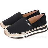 TORY BURCH Daisy 襪套彈力針織麂皮拼接草編鞋(黑色) 1940041-01
