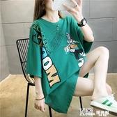 T恤 中長款女裝夏歐貨大版洋氣寬鬆半袖上衣服大碼短袖T恤女韓版潮