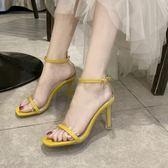 高跟鞋水晶跟高跟涼鞋女夏季韓版網紅性感方頭鞋一字式扣帶細跟 伊蘿鞋包