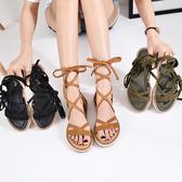 平底涼鞋 女低跟真皮綁帶羅馬鞋【多多鞋包店】z1623