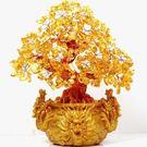 精品正品開光天然黃水晶樹擺件 招財樹發財樹三龍樹1