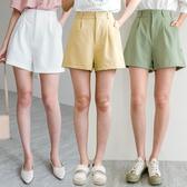 MIUSTAR 同色釦鬆緊腰壓褶寬鬆A字短褲(共5色,M-L)【NH1389】預購
