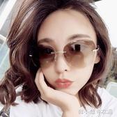 無框新款韓版潮彩色復古防紫外線太陽眼鏡圓臉網紅街拍墨鏡女 韓小姐