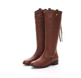 MICHELLE PARK 優雅俐落中性拉鍊流蘇牛皮舒適平底長筒靴-咖啡