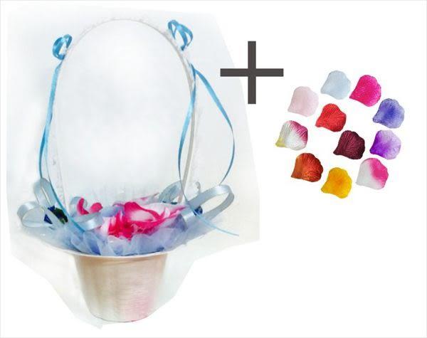 娃娃屋樂園~玫瑰羽毛-花童籃+100片花瓣(顏色隨機搭配) 每組175元/婚禮小物/送客禮/婚禮小物