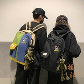 後背包韓版森系韓國泫雅風男大容量撞色雙肩包【橘社小鎮】