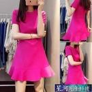 OL洋裝 春夏新款短袖修身顯瘦玫紅色收腰荷葉邊連身裙包臀裙修身OL中裙 星河光年