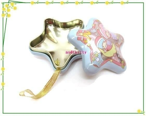 asdfkitty可愛家☆賠錢出清特價 雙子星聖誕樹掛飾/收納鐵盒/禮物盒或幸運籤-日本製
