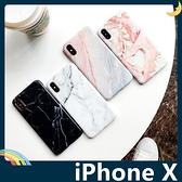 iPhone X/XS 5.8吋 大理石保護套 軟殼 晶透暖色系 多層次石頭紋 光澤亮面 矽膠套 手機套 手機殼