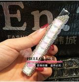 鑲鑽水晶寶石充氣打火機女士口紅小巧便捷式水鑽打火機纖細款(白色粉色)