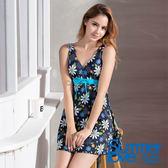 【Summer Love 夏之戀】加大碼顯瘦印花連身帶裙泳裝(S19706)