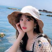 遮陽帽 帽子女韓版潮百搭出游遮陽帽防曬紫外線大沿遮臉日系漁夫帽女士夏 5色