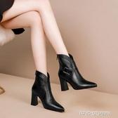 秋冬季新款網紅高跟短靴粗跟馬丁靴女單靴尖頭女靴子大碼踝靴(免運快出)